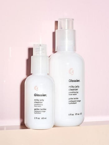 Glossier's Milky Jelly cleanser in two different sizes