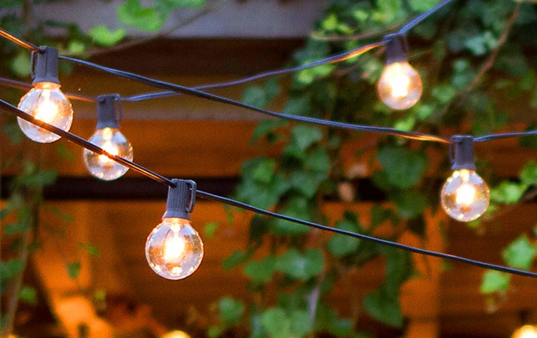 String lights hanging outside