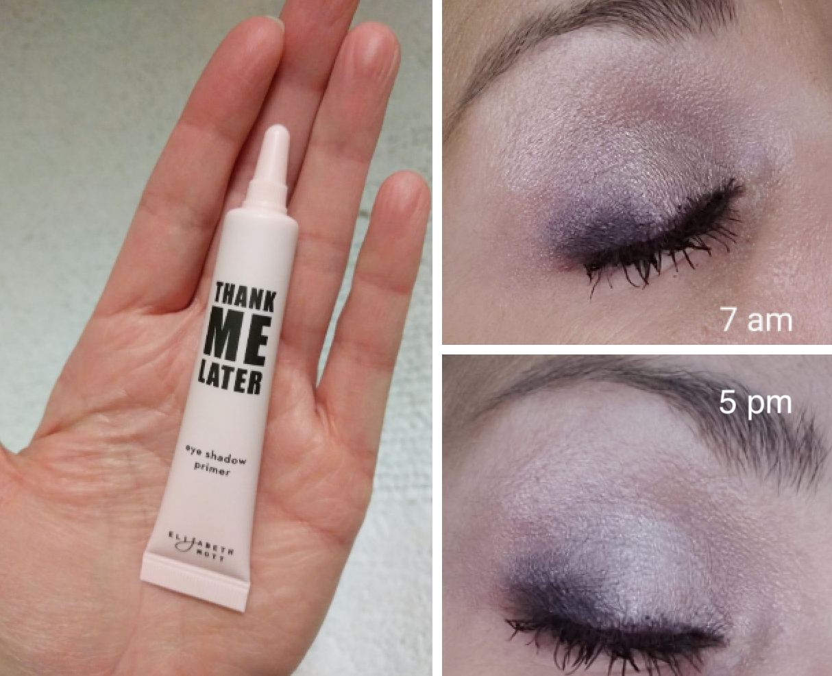 Reviewer's before and after picture when using Elizabeth Mott's Thank Me Later primer. The after pic is taken 10 hours later, and the eyeshadow is in tact with no smudging or creasing.