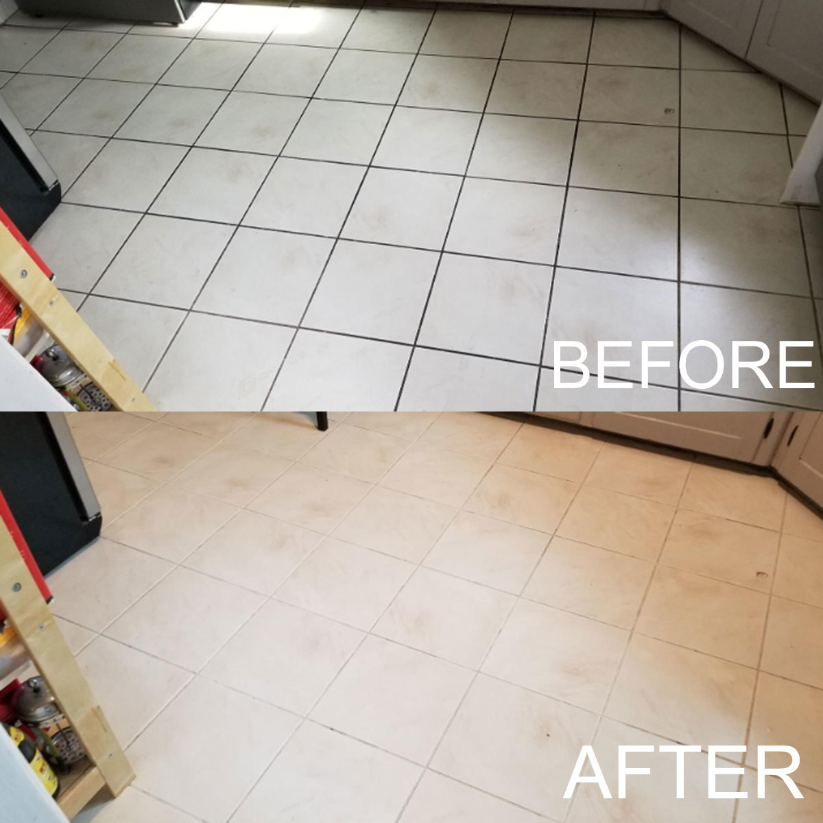 Reviewer photo showing before-and-after results of using Krud Kutter spray