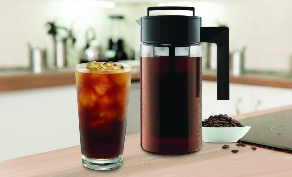 """It yields about four servings of delicious coffee, features an airtight, leak-proof lid that helps to lock in freshness and flavor, a non-slip silicone handle, and fits in most refrigerator doors. Plus, it's dishwasher-safe and BPA-free.Promising review: """"Delicious iced coffee! Don't be fooled by getting an iced coffee at Starbucks and paying almost four bucks. For less than a dollar, you can brew your own cold brew coffee at home. The best part is that cold brew has 60 percent less acid then regular coffee does. So go ahead acid reflux sufferers have that second cup! I used some gourmet beans from a local coffee roaster for $15 and ground them myself. The coffee was far better than Starbucks could ever dream of making. Best of all I get three days worth of coffee for around $2 worth of beans. Pretty amazing."""" —Robert KlaprothNeed more convincing on this amazing coffeemaker? Check out our review of the fabulous Takeya Cold Brew Coffee Maker.Get it from Amazon for $24.69+ (available in two sizes)."""