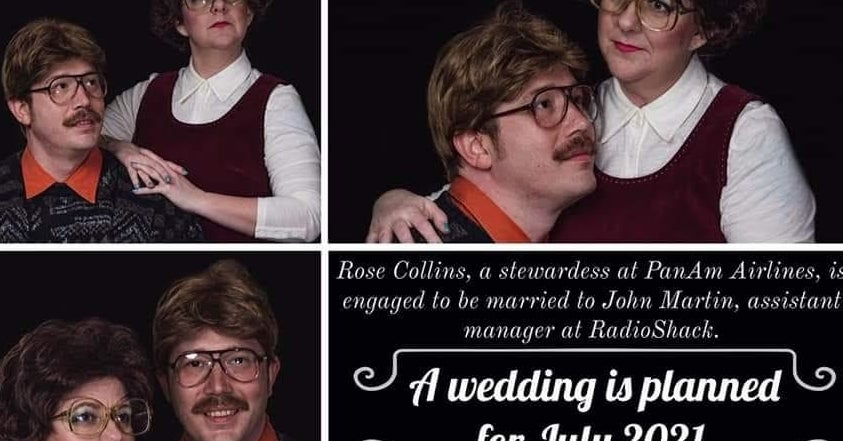 This Couple Trolled Their Loved Ones By Taking Some Seriously Epic '80s-Inspired Engagement Photos