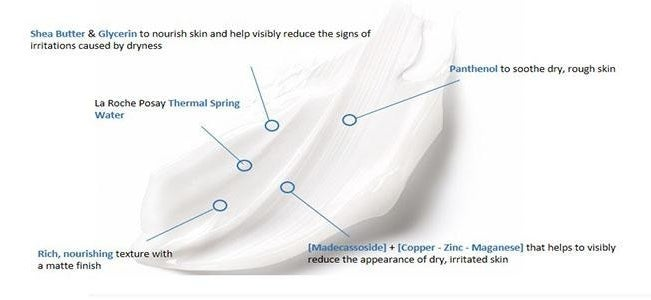 A smear of the cream with info about the ingredients that's matte, reduced the appearance of dry skin
