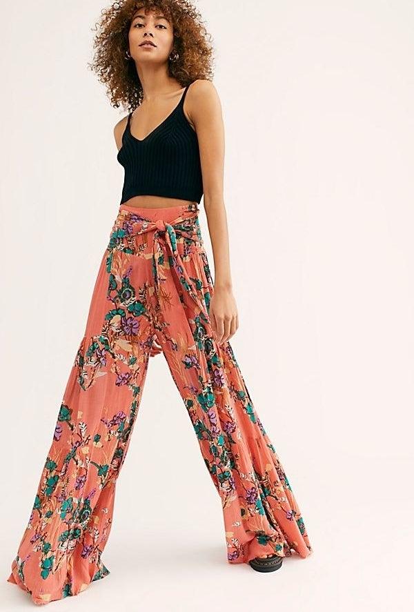 $128 M New Free People I've Got A Feeling Floral Set Orange 2-Piece Sz Medium