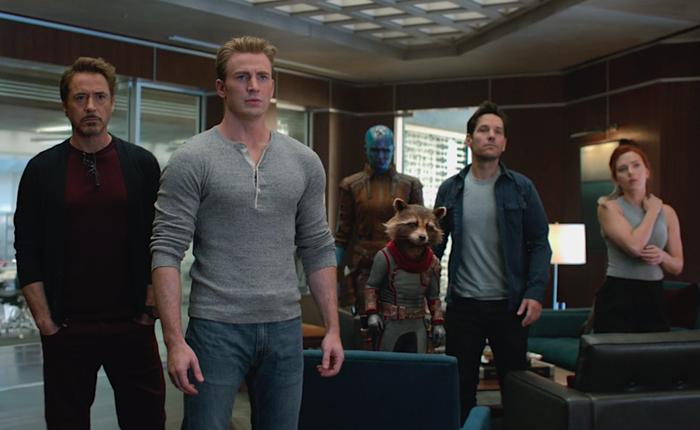 Robert Downey Jr., Chris Evans, Karen Gillan, Paul Rudd, and Scarlett Johansson in Avengers: Endgame.