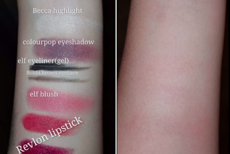 Reviewer's photos showing different makeup brands that come off with skin using the makeup remover towel