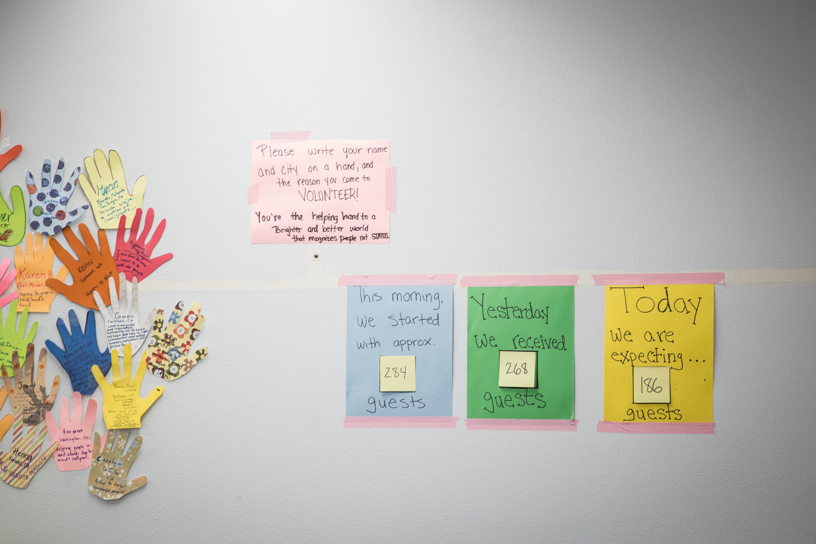 A wall at the local Rapid Response shelter, which has seen an increase in guests generally and will have to house more people following the closure of the Christ Ministry Center.