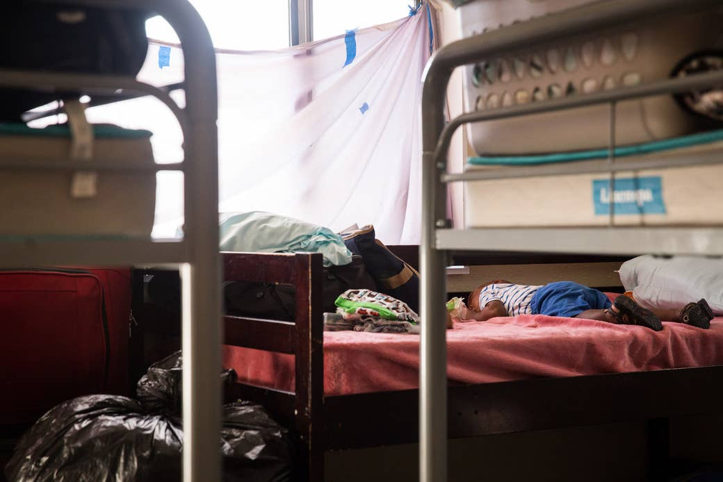 A room that houses many refugee women and children in the Safe Harbors shelter at Christ Ministry Center.