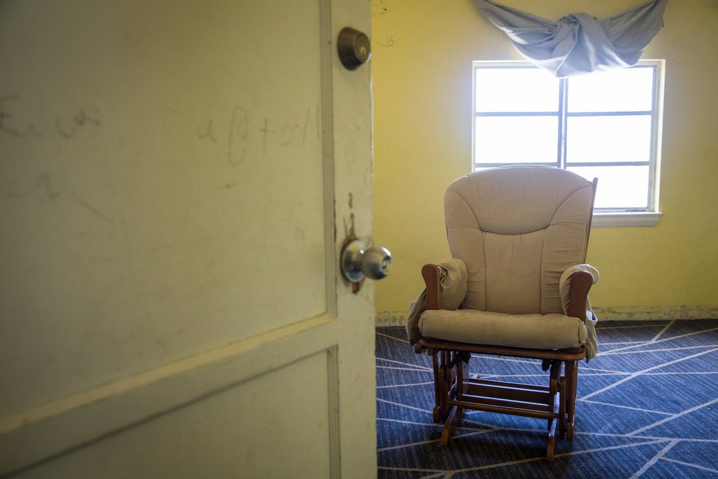 Rooms abandoned by refugee families who were forced to move out of the Safe Harbors Network shelter at Christ Ministry Center.