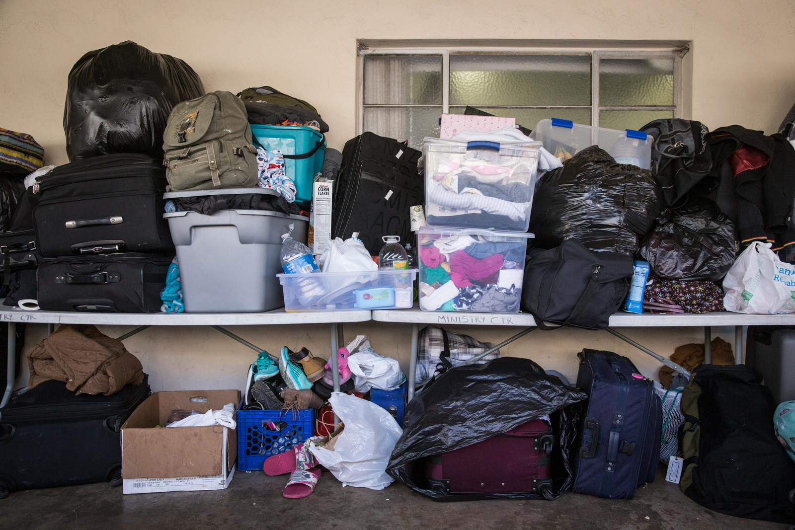 Refugees' belongings stored at Christ Ministry Center.