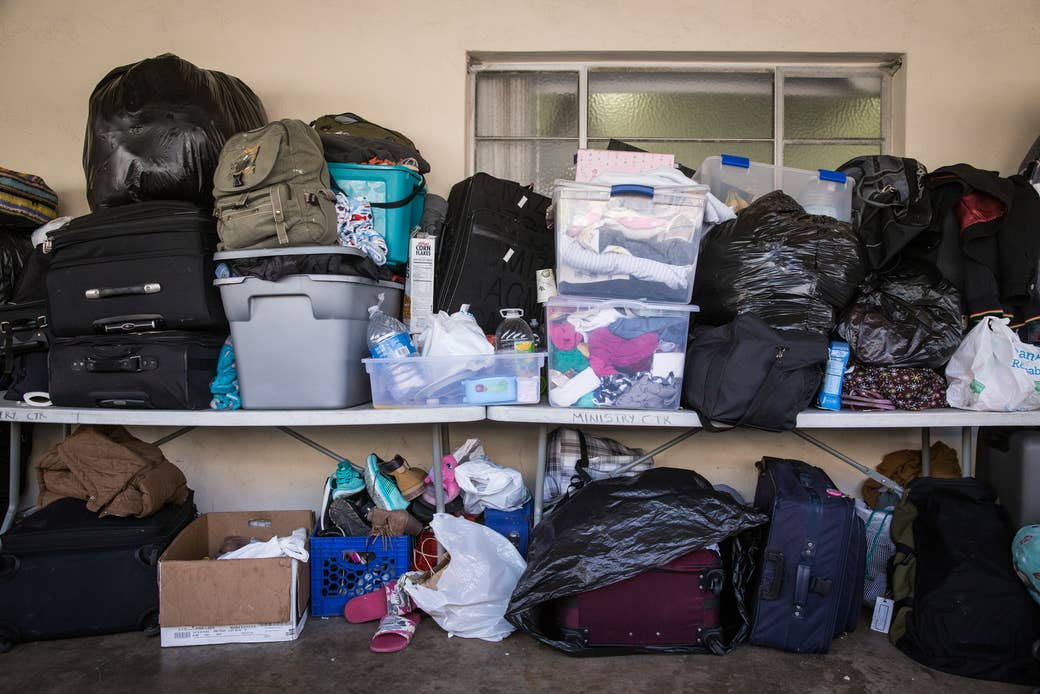 Refugees' belongings stored at Christ Ministry Center.
