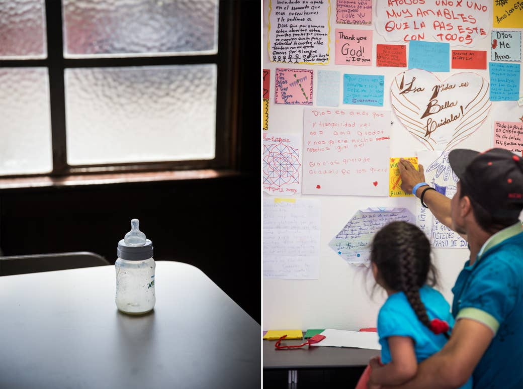 A baby bottle in the Safe Harbors shelter at Christ Ministry Center and a wall of thank-you and encouragement notes at the Rapid Response Network shelter in San Diego.