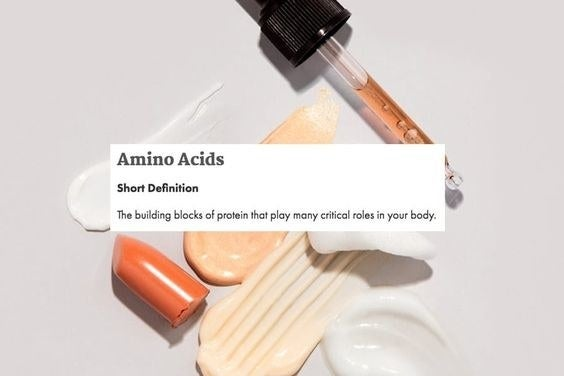 A skincare graphic with text: Amino Acids short definition — the building blocks of protein that play many critical roles in your body