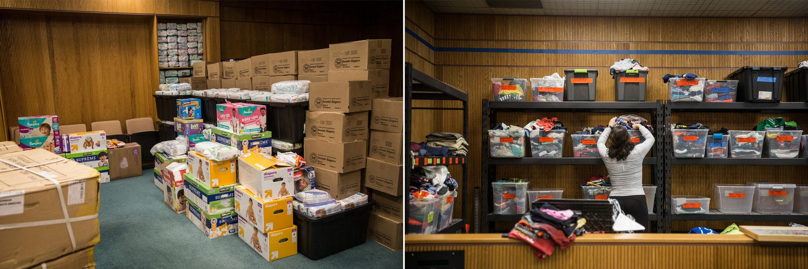 Supplies at the Rapid Response shelter in San Diego.