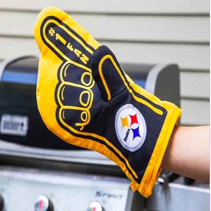hand wearing the Steelers logo oven mitt that looks like a foam finger
