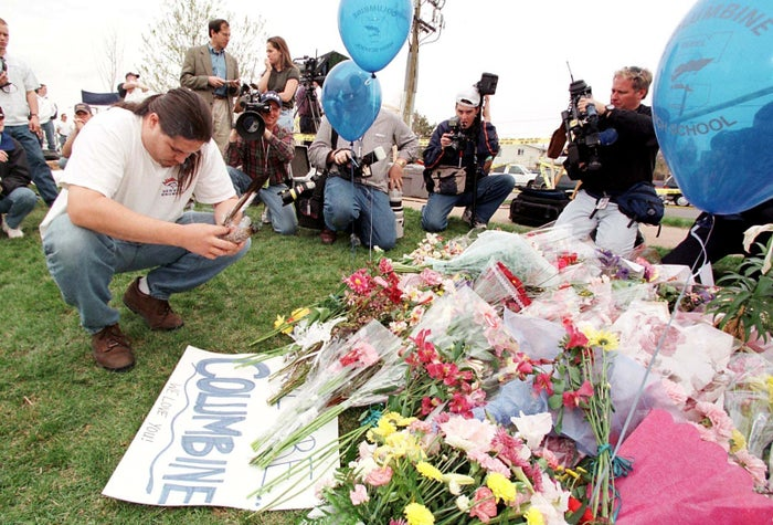 A vigil in Littleton, Colorado, on April 21, 1999, the day after 14 students and one teacher were killed during the attack on Columbine High School.
