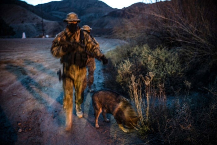 Members of the United Constitutional Patriots patrol the US–Mexico border in Sunland Park, New Mexico.