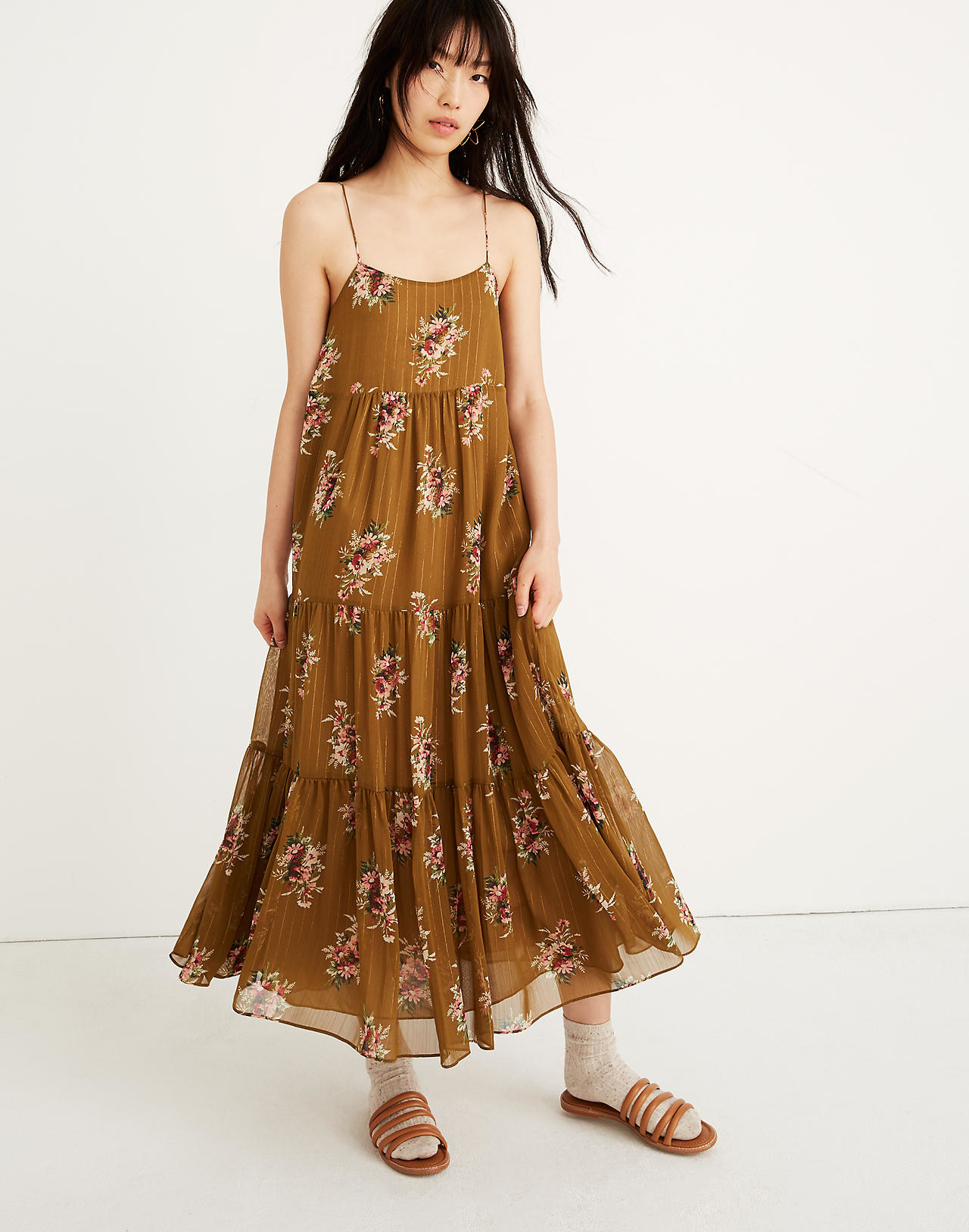 c54ba7465a2 A darling corsage-adorned tiered dress that ll look gorgeous swinging  amongst the cherry blossoms or whatever foliage that sprouts up near you.  Madewell