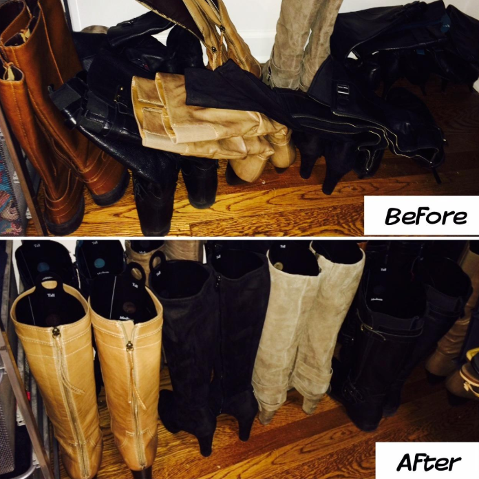 In the before photo, a row of tall boots leading against each other. In the after photo, the same row of boots standing up straight with the inserts inside