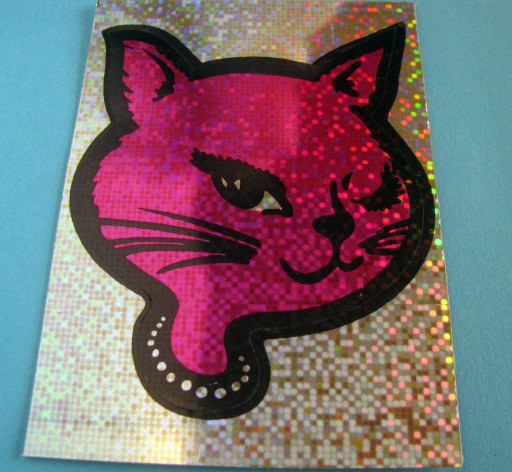 Sparkly hot pink winky cat sticker