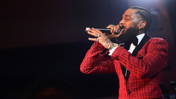 Nipsey Hussle performs onstage at the Warner Music Pre-Grammy Party on Feb. 7, 2019.