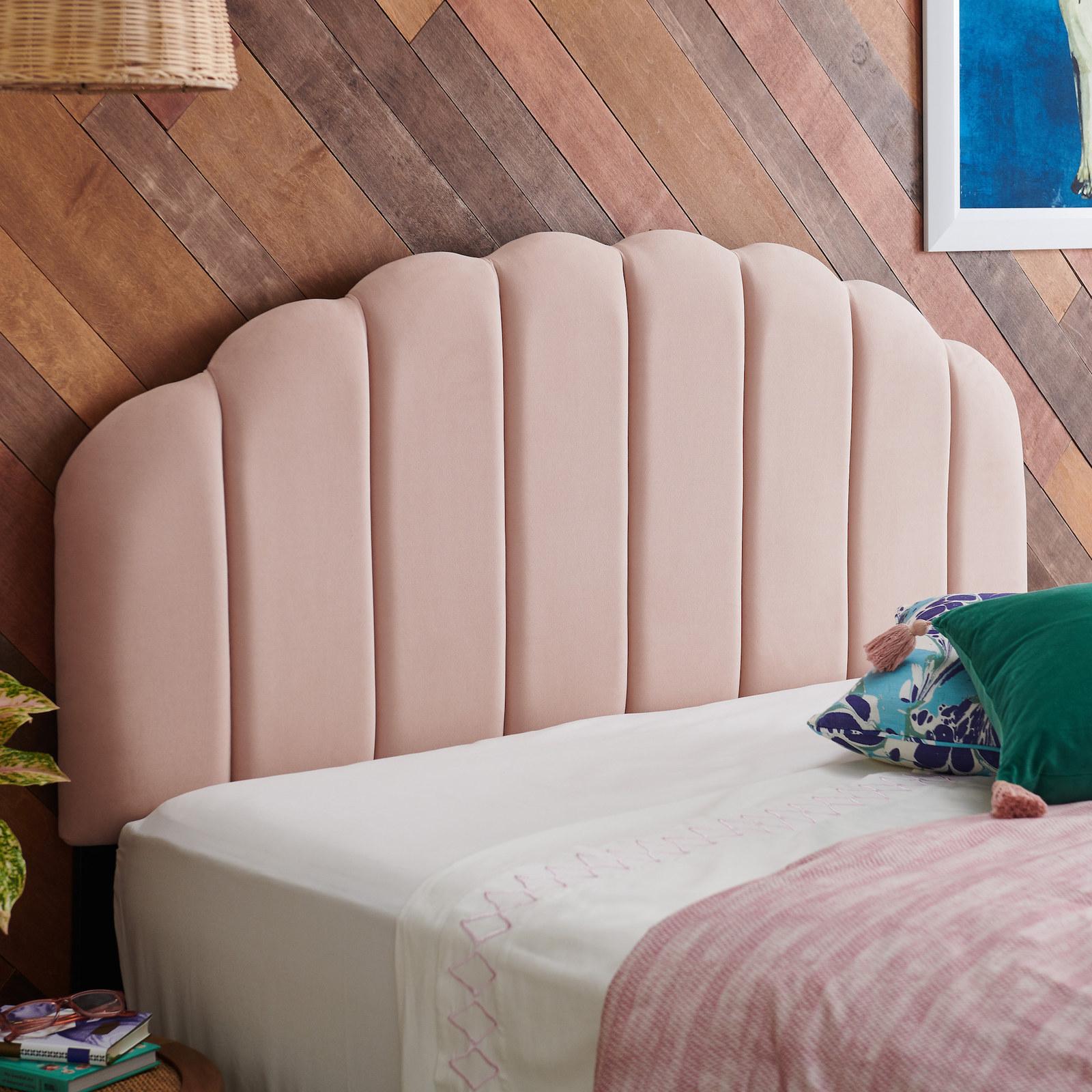 pink tufted headboard
