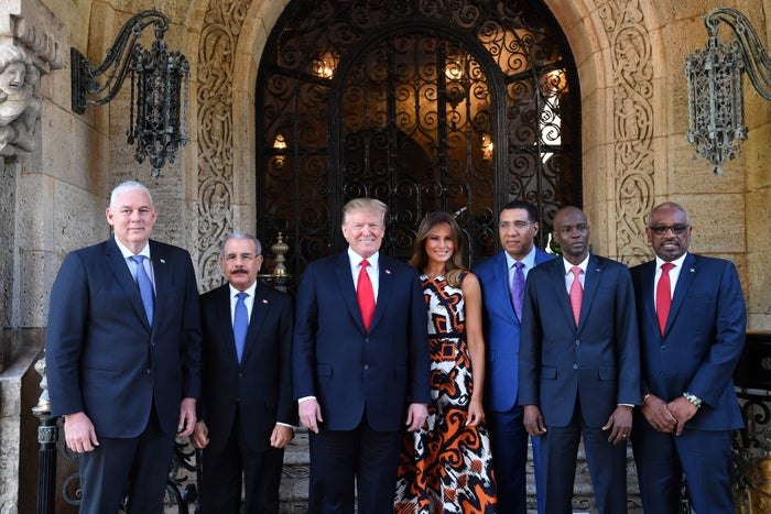 President Donald Trump and first lady Melania Trump host Caribbean leaders at the Mar-a-Lago estate.