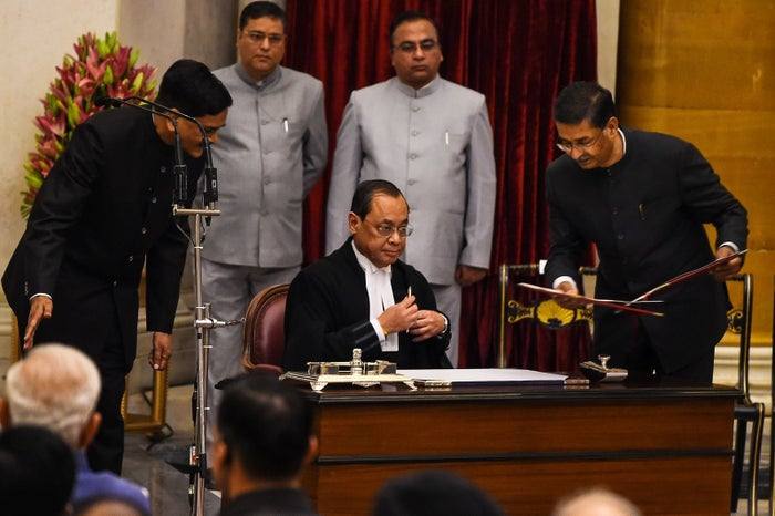 The Chief Justice of India, Ranjan Gogoi, during his swearing-in ceremony.