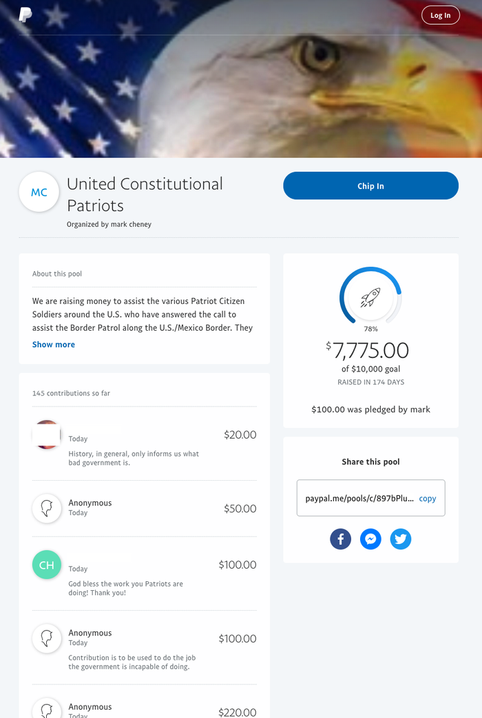 An online fundraiser for the United Constitutional Patriots shut down Friday.