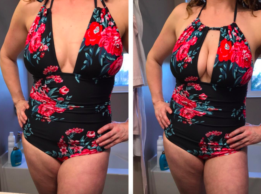 reviewer on the left wearing the black and pink floral as a v-neck swimsuit on the left, on the right the same reviewer wearing the swimsuit with a keyhole cutout