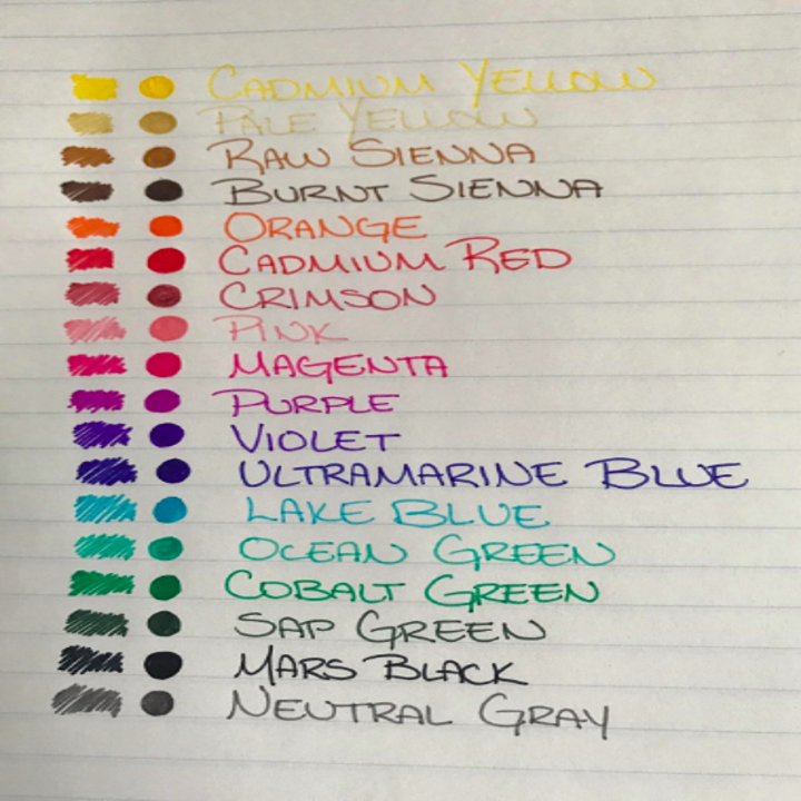 A reviewer's sample page writing with all the colors: two shades each of yellow, brown, red, pink, purple, and blue, three shades of green, black, gray, and orange