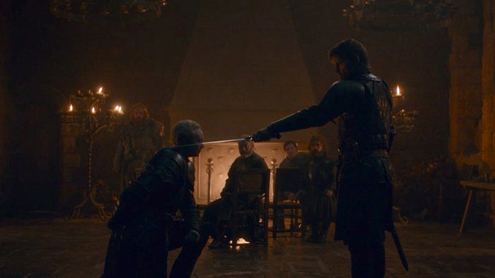 Oh, and Brienne of Tarth gets officially knighted!!!