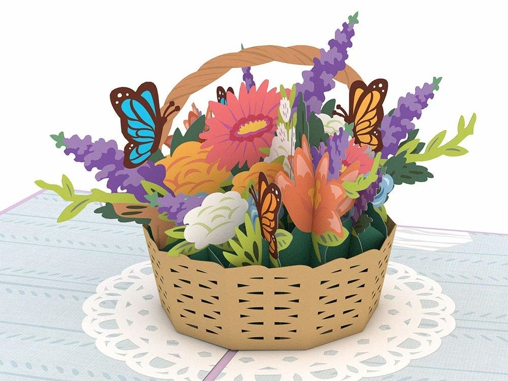 the flower bouquet and butterfly 3d card