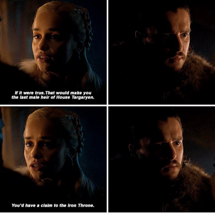 Jon, right before an important battle, told Dany, the woman with the DRAGONS, that he is the true heir to the Iron Throne. Great timing there, chief.