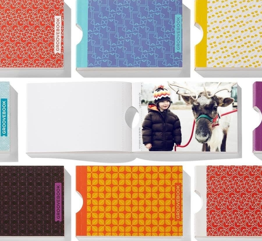 various groovebooks with different patterned covers