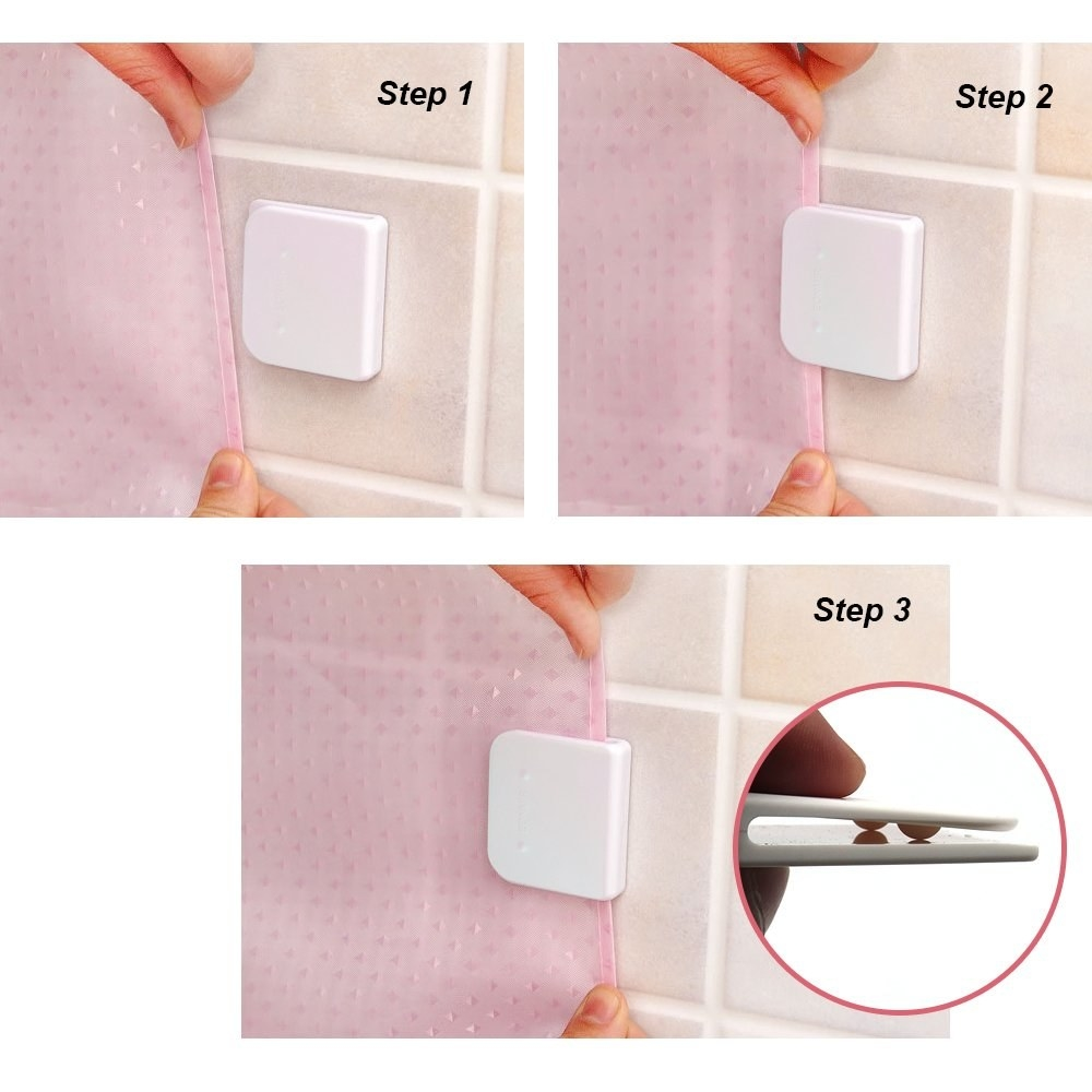 Model showing how to insert shower curtain into curtain clip on shower wall