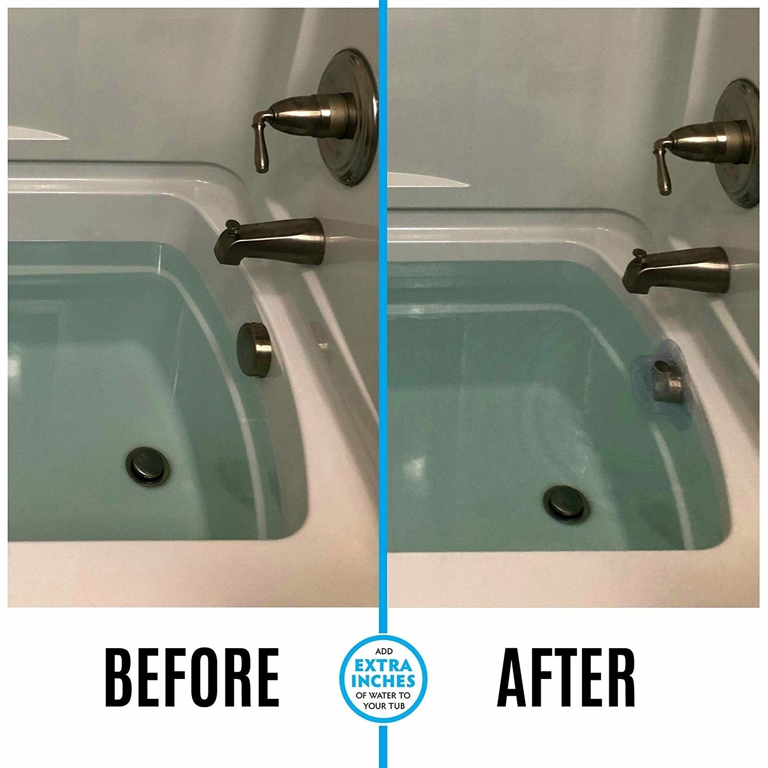 Before-and-after photo showing increased water level in tub after using drain cover