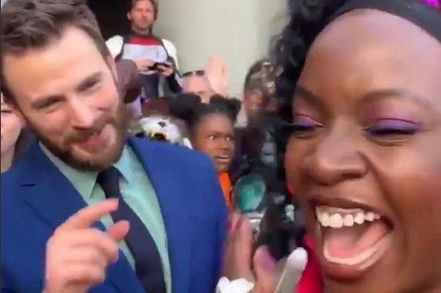 """Avengers"" Fans Are Gushing Over Chris Evans And Danai Gurira After This Pure Red Carpet Moment"