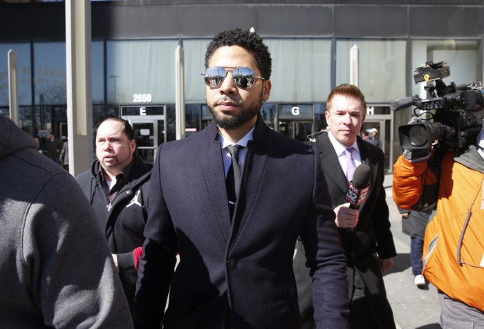 Actor Jussie Smollett leaves court after his appearance on March 26.