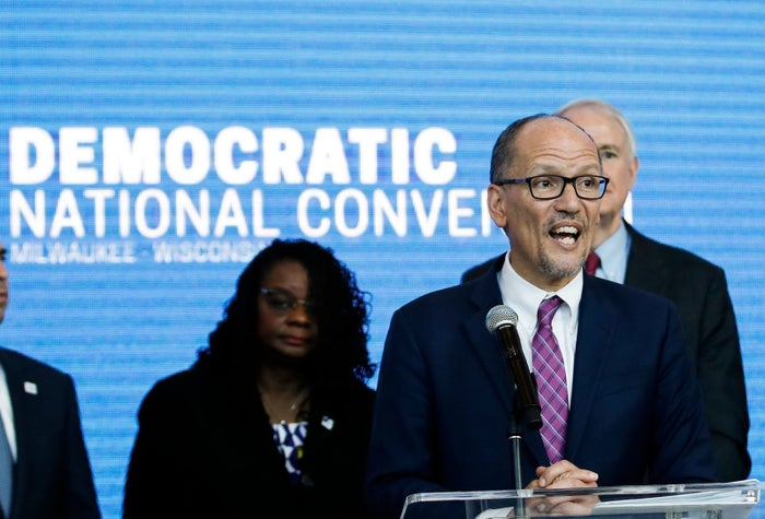 DNC chair Tom Perez at a press conference at the Fiserv Forum in Milwaukee, March 11.