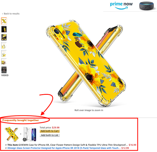 """An example of the location of the """"Frequently Bought Together"""" spot on a product listing that is not associated with black hat tactics."""