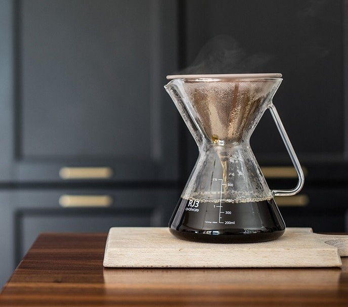 """It's designed to fit most carafes ($19.99 on Amazon) and has a ~dual filter~ construction (high quality mesh inside and a laser-cut filter outside) to bring out bolder flavors in coffee you already have. Promising review: """"This is my third reusable filter. I have two others from other brands but this one is the best — it's amazing at providing the right drainage rate for the best cup of coffee. I had a suspicion my original one drained too slowly (bitter coffee, even with course grind). This one is beautiful and does, as they say, drain at the best rate! You're going to taste all of the coffee flavors with this!"""" —Sarah B.Get it from Amazon for $19.99+ (available in three colors)."""