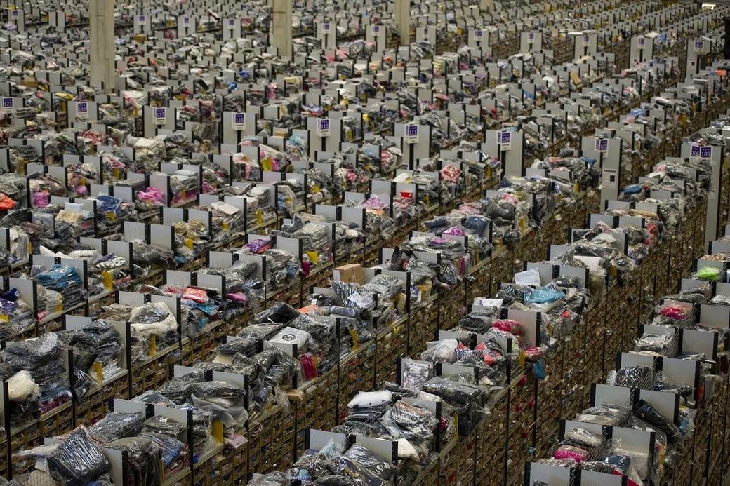 A view of an Amazon fulfillment center.