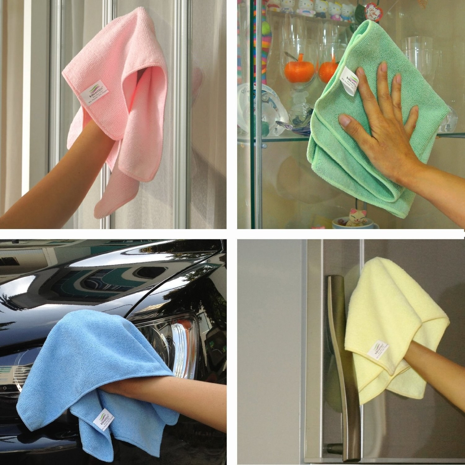 A collage showing the cloths being used on a car, fridge, and glass surface
