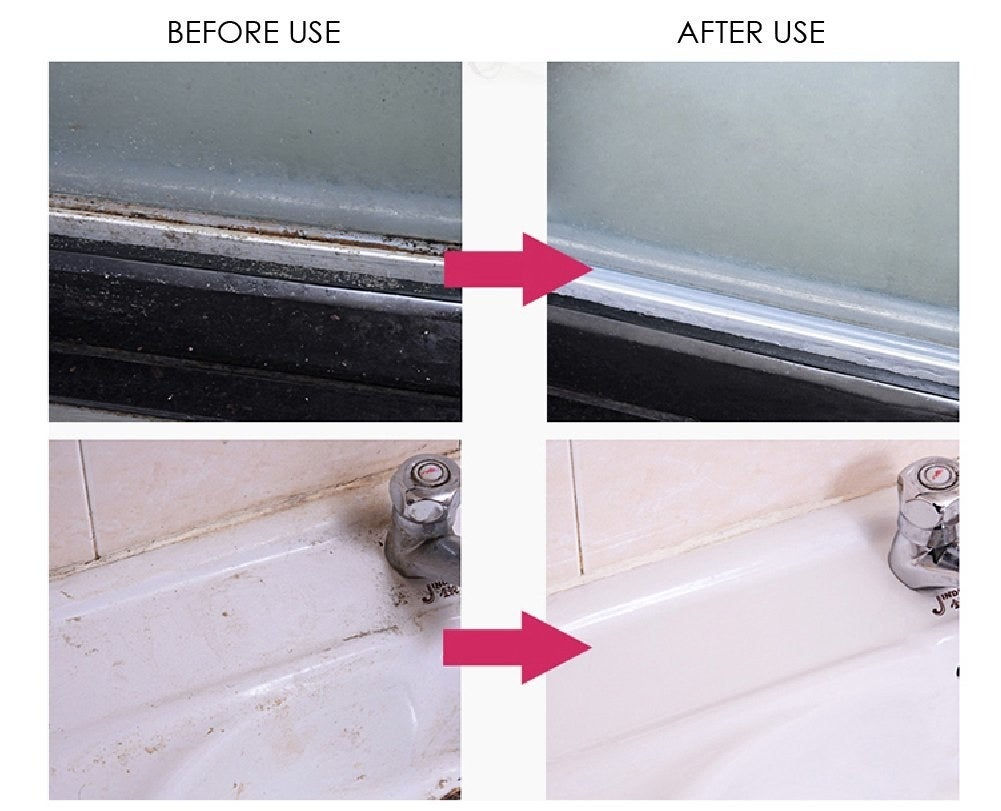 A collage of images showing before and after the cleaner's use on sinks and shower door tracks