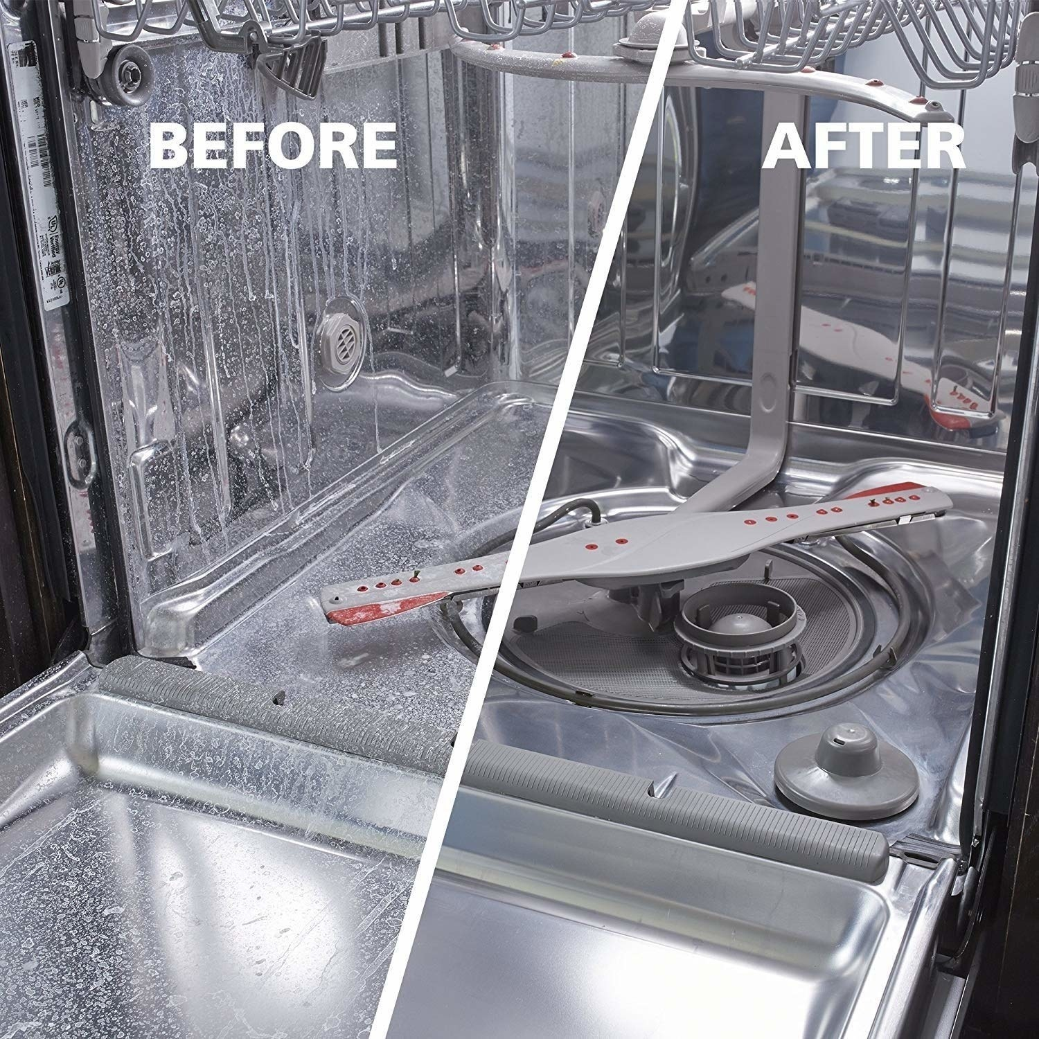 A product image of the inside of a dishwasher before (scaly and with white residue) and after (sparkling clean)