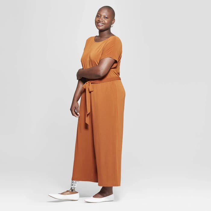 "Promising review: ""This jumpsuit is amazing. It's so comfortable and the wide legs are super flattering. I'm going to be wearing this all summer. The material doesn't wrinkle, so it'll be thrown in my suitcase more than a few times!"" —EmmyGet it from Target for $29.99 (available in sizes X–4X and two colors)."