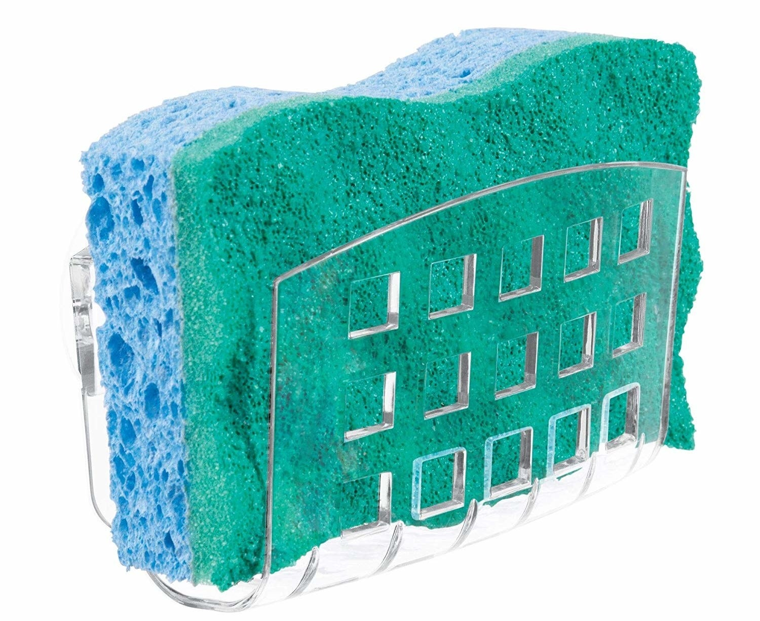 A sponge in the clear holder with square holes