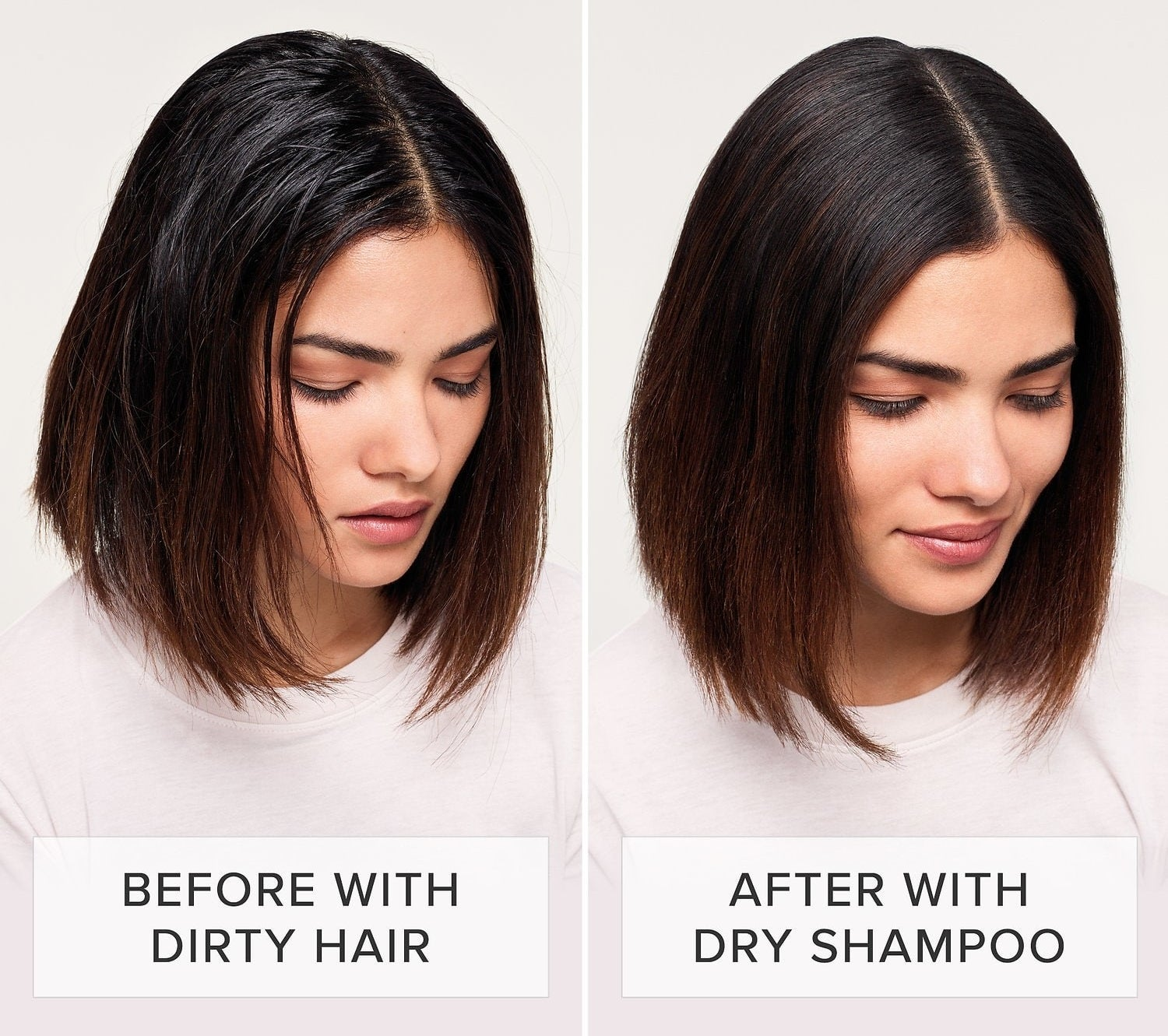 A model in a before/after showing dirty, greasy-looking hair before use and clean-looking hair after use
