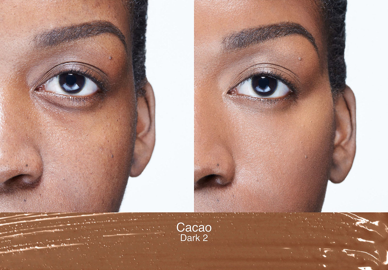 A before/after of a model using shade Cacao to cover up dark circles and even out skintone